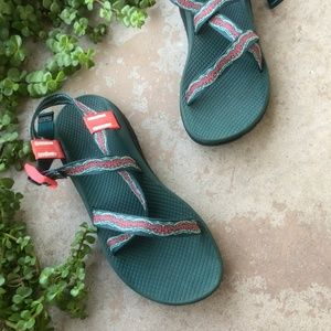 Chaco Forest Green/Coral Z Classic Sandals